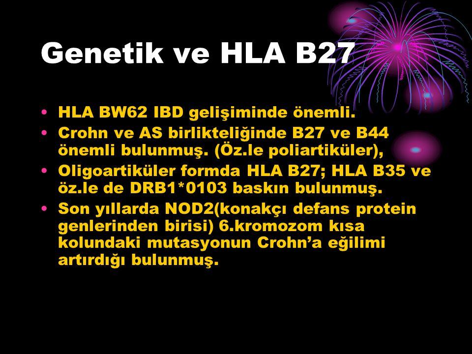 Genetik ve HLA B27 HLA BW62 IBD gelişiminde önemli.