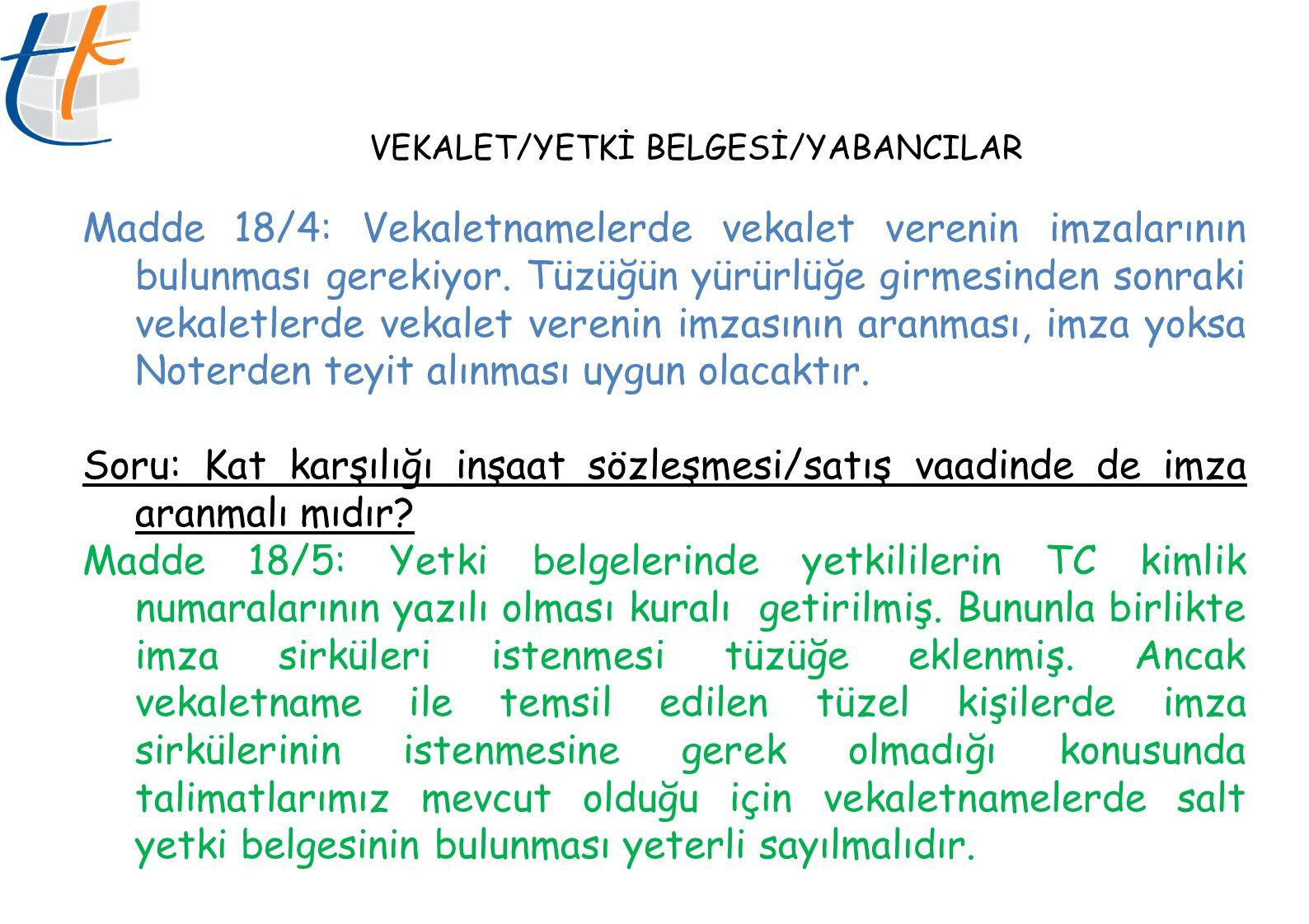 VEKALET/YETKİ BELGESİ/YABANCILAR