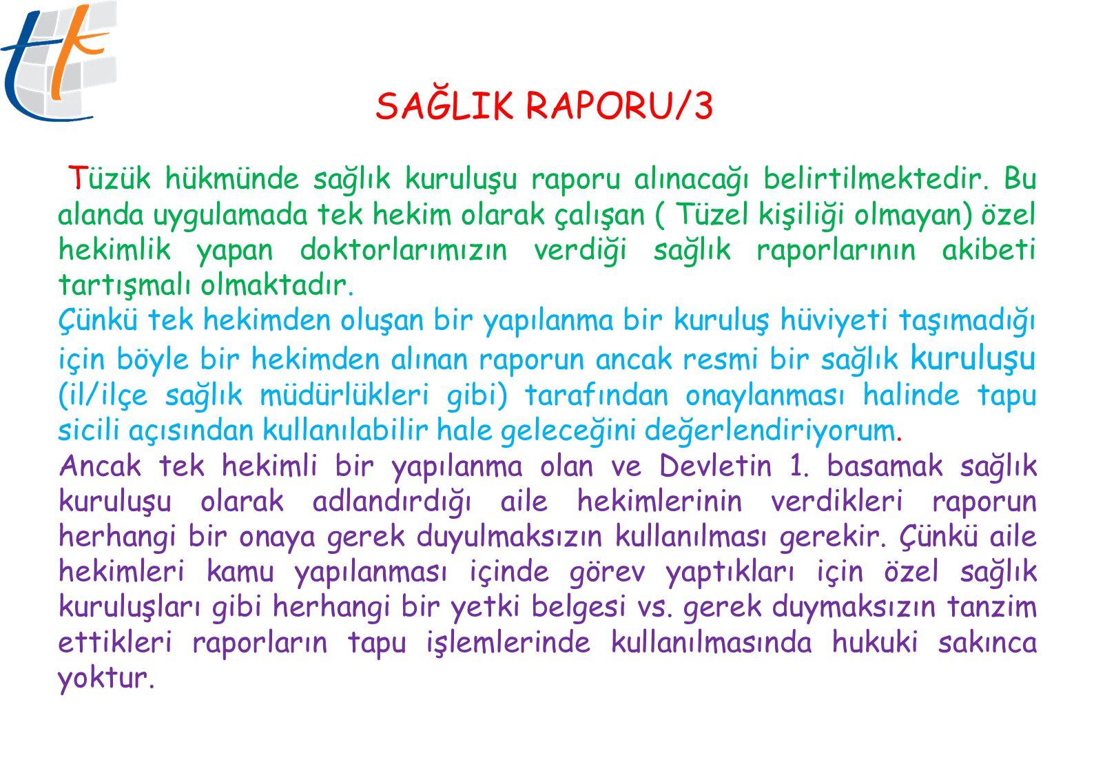 SAĞLIK RAPORU/3 .