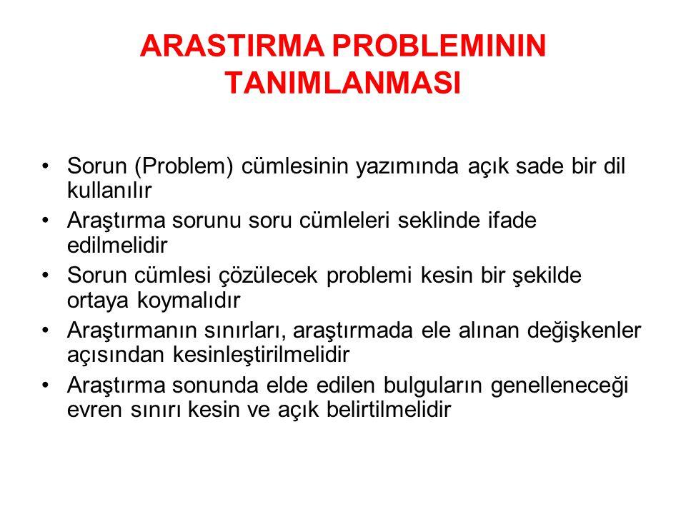 ARASTIRMA PROBLEMININ TANIMLANMASI