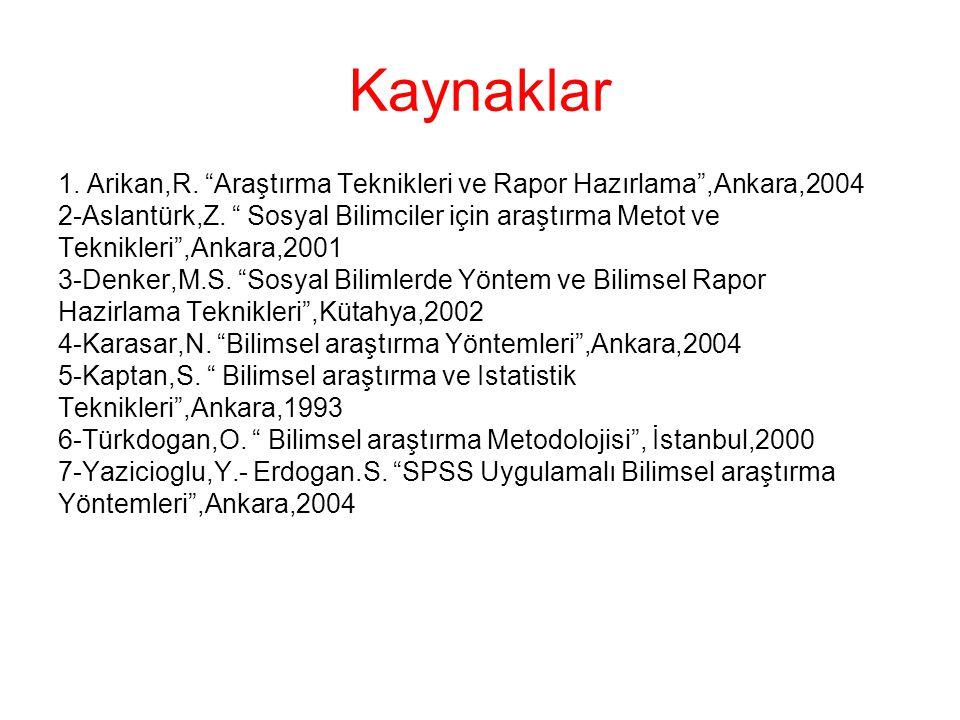 Kaynaklar 1. Arikan,R. Araştırma Teknikleri ve Rapor Hazırlama ,Ankara,2004. 2-Aslantürk,Z. Sosyal Bilimciler için araştırma Metot ve.