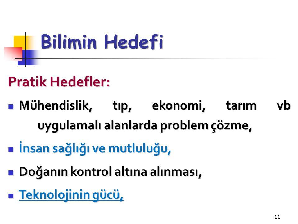 Bilimin Hedefi Pratik Hedefler: