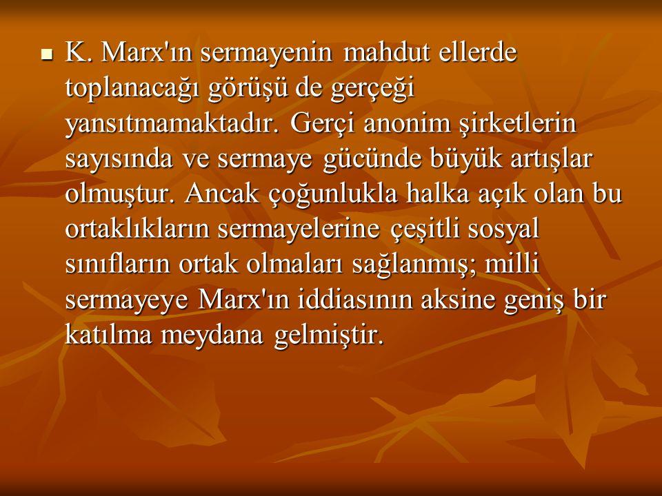 K. Marx ın sermayenin mahdut ellerde toplanacağı görüşü de gerçeği yansıtmamaktadır.