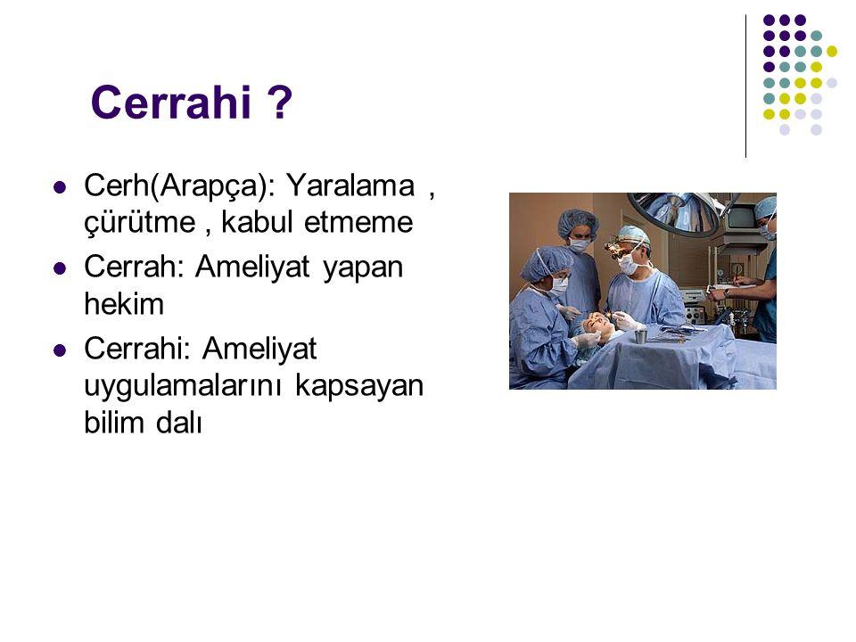 Cerrahi Cerh(Arapça): Yaralama , çürütme , kabul etmeme