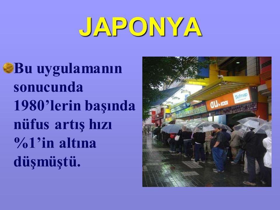 JAPONYA Bu uygulamanın sonucunda 1980'lerin başında nüfus artış hızı %1'in altına düşmüştü.