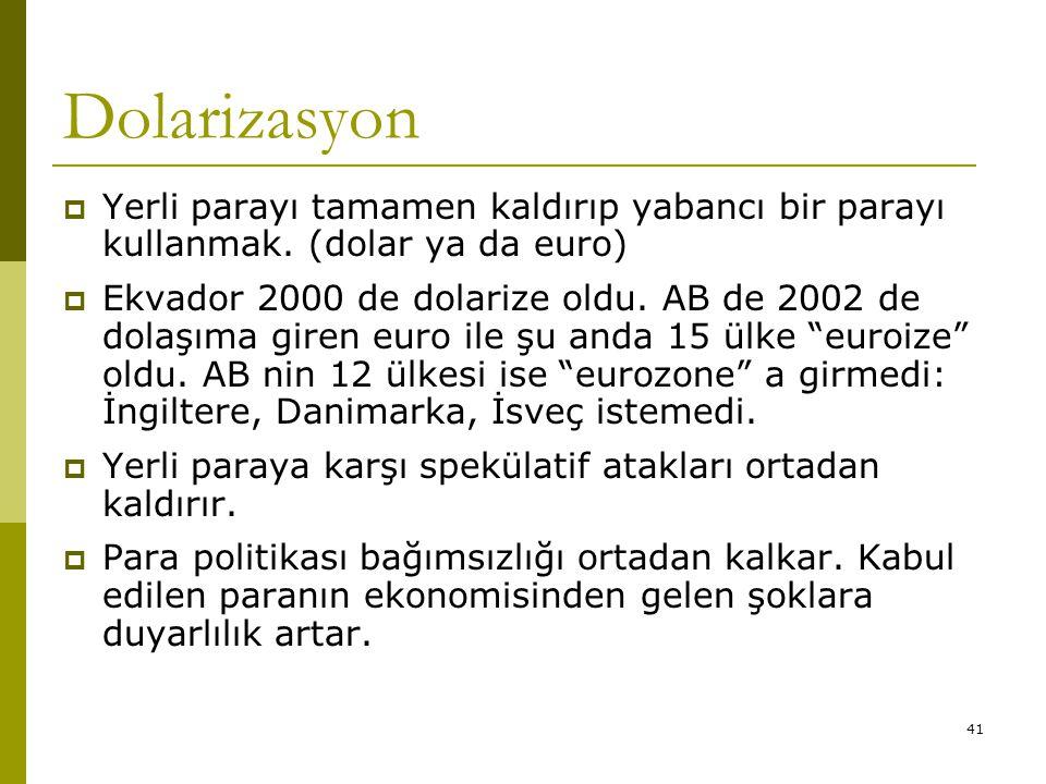 Dolarizasyon Yerli parayı tamamen kaldırıp yabancı bir parayı kullanmak. (dolar ya da euro)