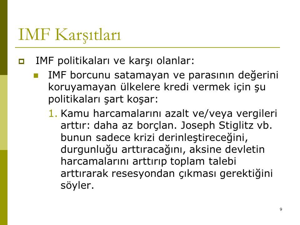 IMF Karşıtları IMF politikaları ve karşı olanlar: