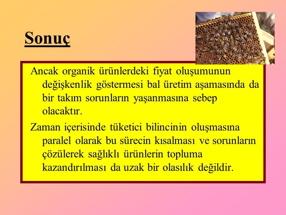 Sonuç Ancak organik ürünlerdeki fiyat oluşumunun değişkenlik göstermesi bal üretim aşamasında da bir takım sorunların yaşanmasına sebep olacaktır.