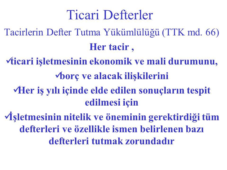 Ticari Defterler Tacirlerin Defter Tutma Yükümlülüğü (TTK md. 66)