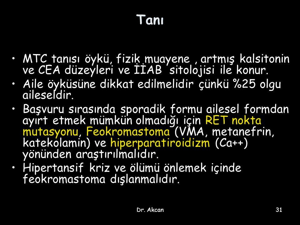 Tanı MTC tanısı öykü, fizik muayene , artmış kalsitonin ve CEA düzeyleri ve İİAB sitolojisi ile konur.
