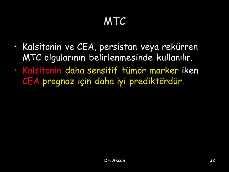 MTC Kalsitonin ve CEA, persistan veya rekürren MTC olgularının belirlenmesinde kullanılır.
