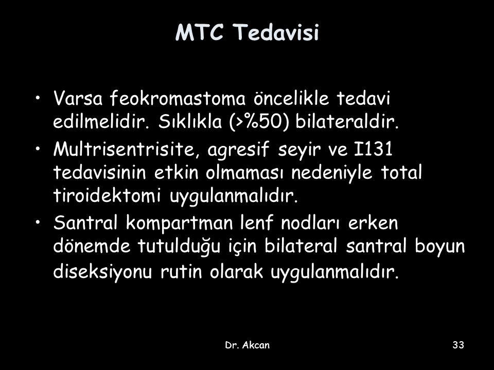 MTC Tedavisi Varsa feokromastoma öncelikle tedavi edilmelidir. Sıklıkla (>%50) bilateraldir.