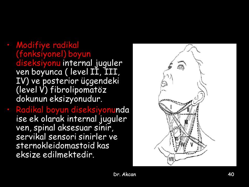 Modifiye radikal (fonksiyonel) boyun diseksiyonu internal juguler ven boyunca ( level II, III, IV) ve posterior üçgendeki (level V) fibrolipomatöz dokunun eksizyonudur.