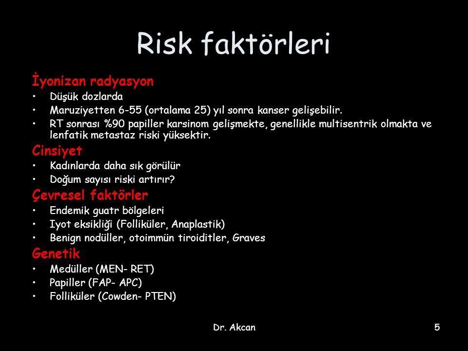 Risk faktörleri İyonizan radyasyon Cinsiyet Çevresel faktörler Genetik