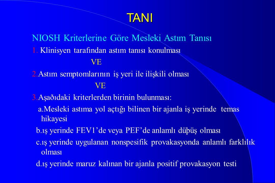 TANI NIOSH Kriterlerine Göre Mesleki Astım Tanısı