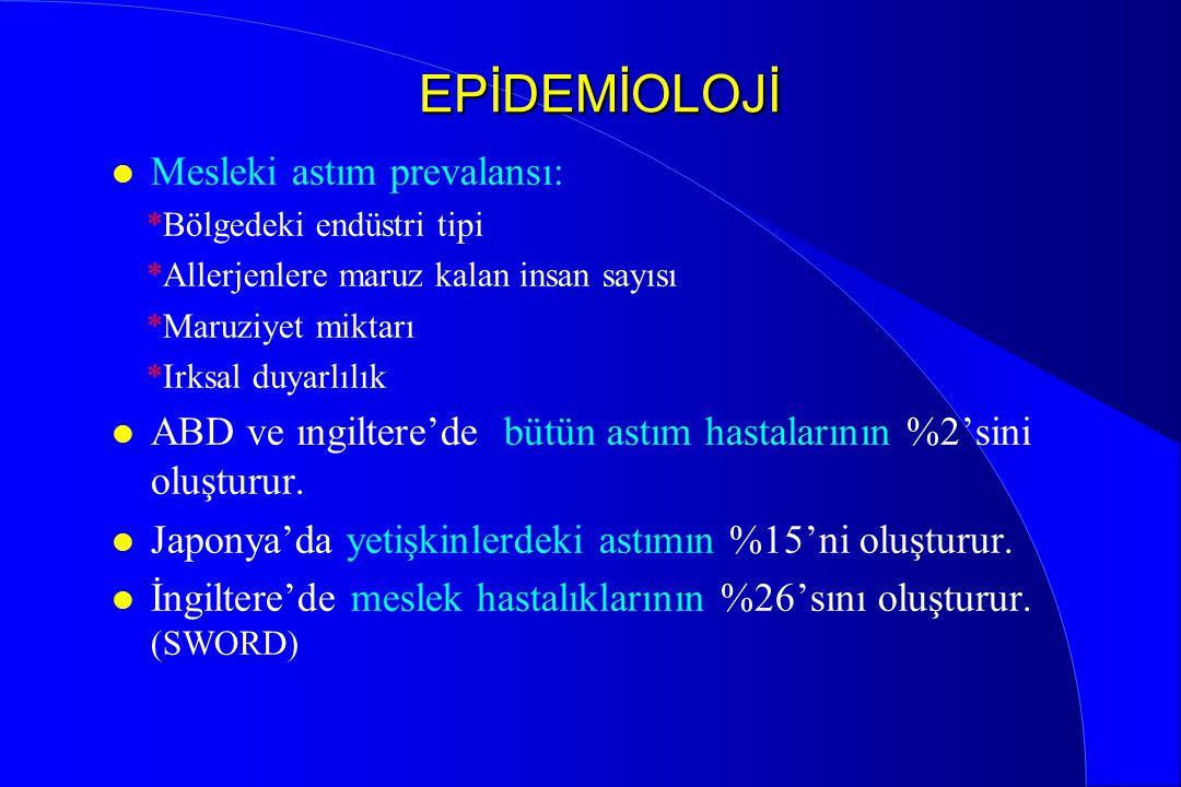 EPİDEMİOLOJİ Mesleki astım prevalansı: