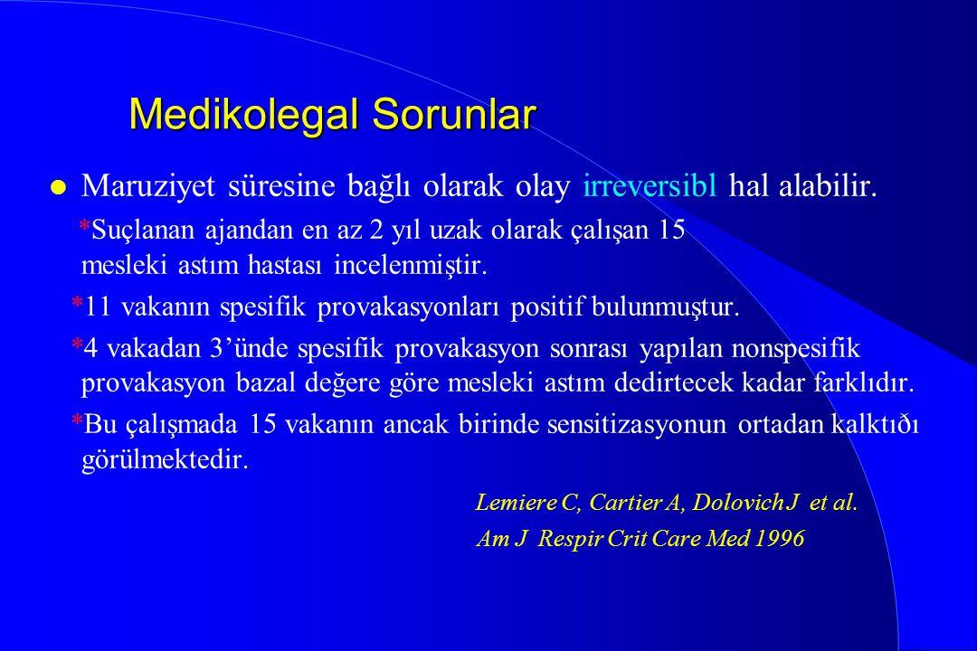 Medikolegal Sorunlar Maruziyet süresine bağlı olarak olay irreversibl hal alabilir.
