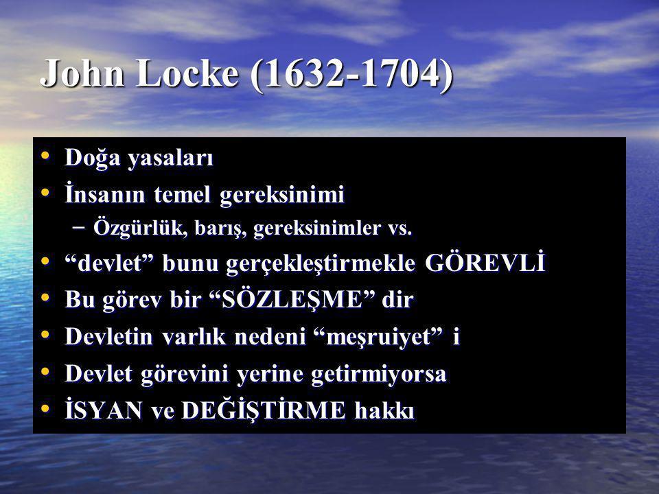 John Locke (1632-1704) Doğa yasaları İnsanın temel gereksinimi