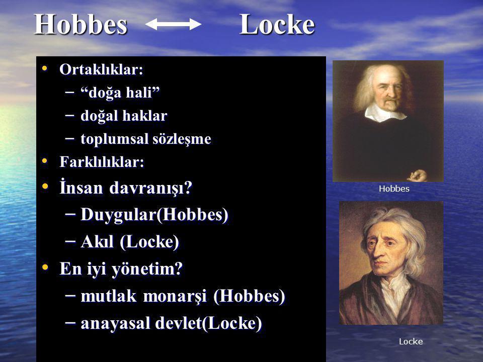 Hobbes Locke İnsan davranışı Duygular(Hobbes) Akıl (Locke)