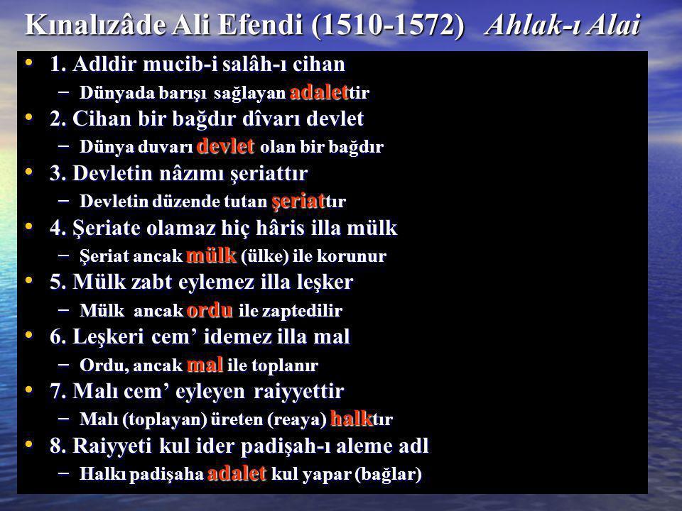 Kınalızâde Ali Efendi (1510-1572) Ahlak-ı Alai