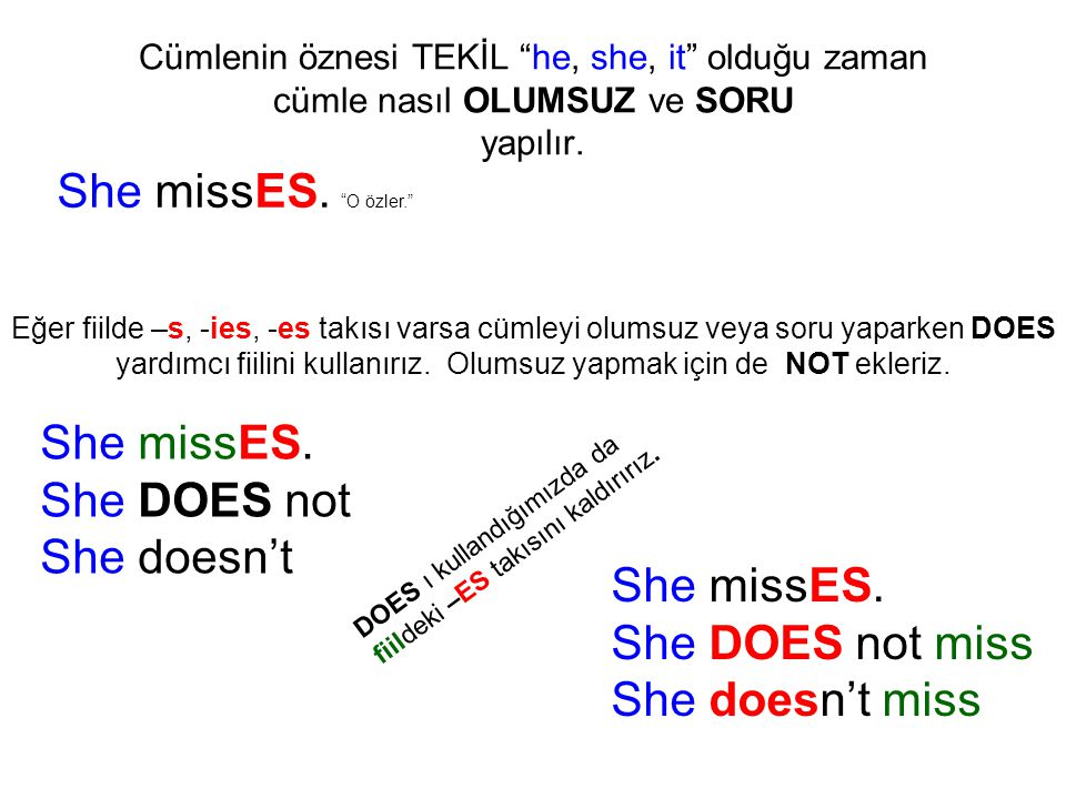 She missES. O özler. She missES. She DOES not She doesn't