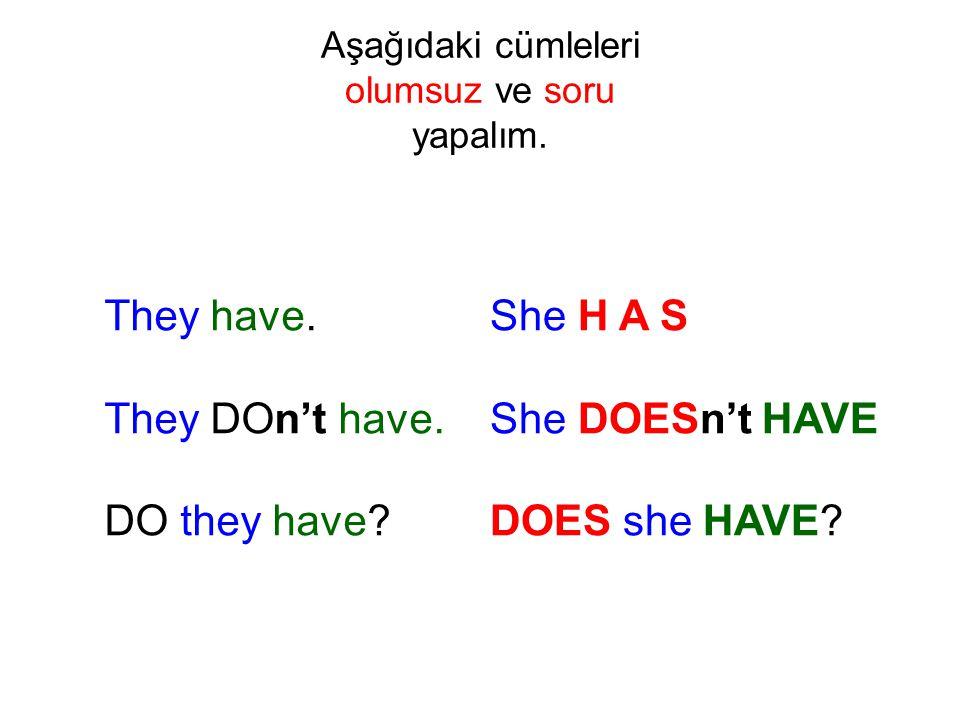 Aşağıdaki cümleleri olumsuz ve soru yapalım.