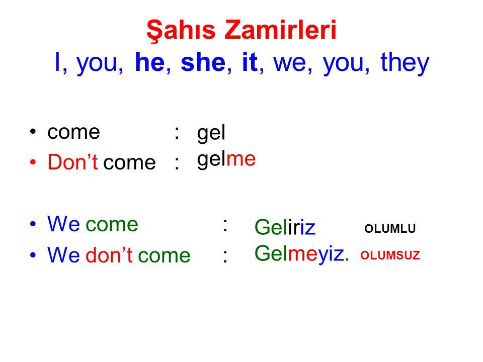 Şahıs Zamirleri I, you, he, she, it, we, you, they