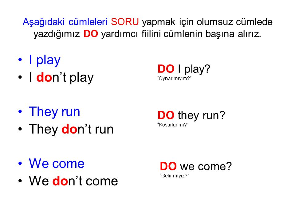 I play I don't play They run They don't run We come We don't come