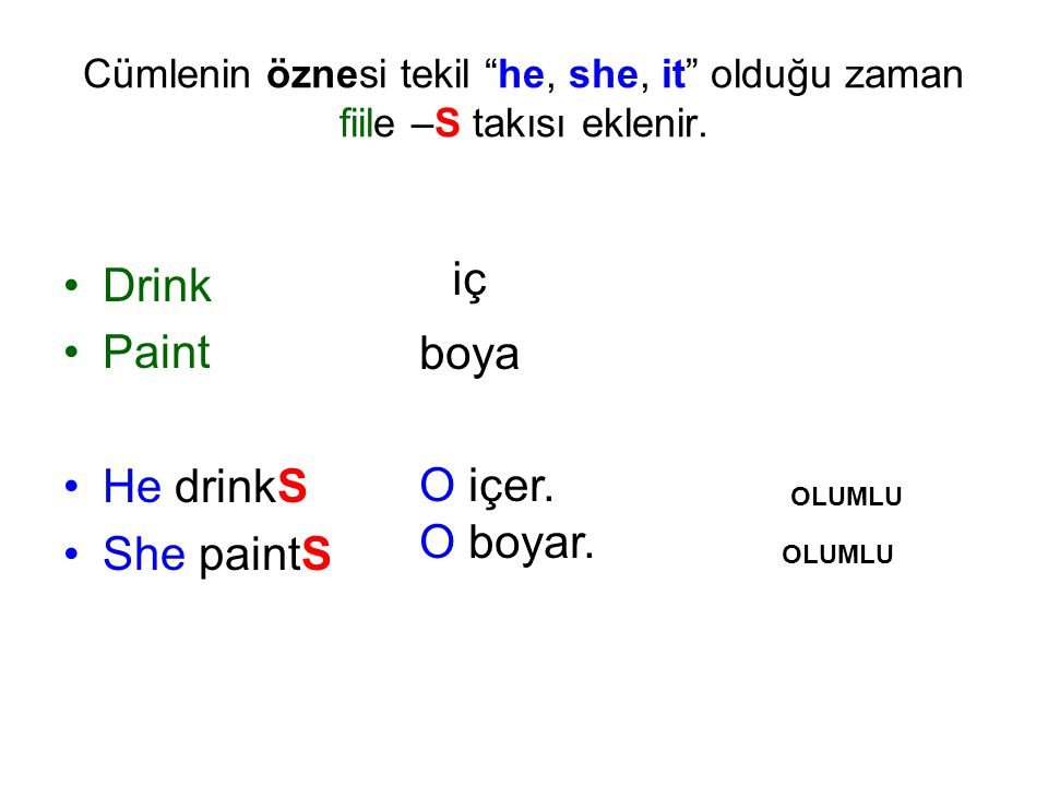 Drink Paint He drinkS She paintS iç boya O içer. O boyar.