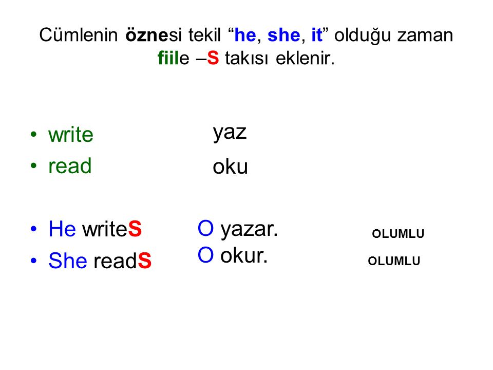 write read He writeS She readS yaz oku O yazar. O okur.
