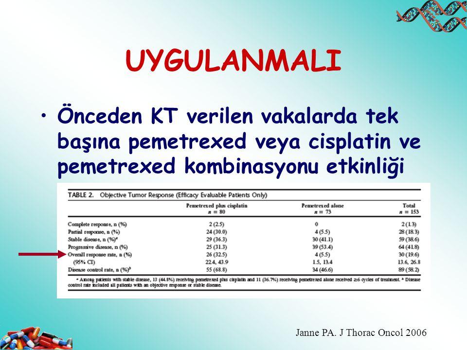 UYGULANMALI Önceden KT verilen vakalarda tek başına pemetrexed veya cisplatin ve pemetrexed kombinasyonu etkinliği.