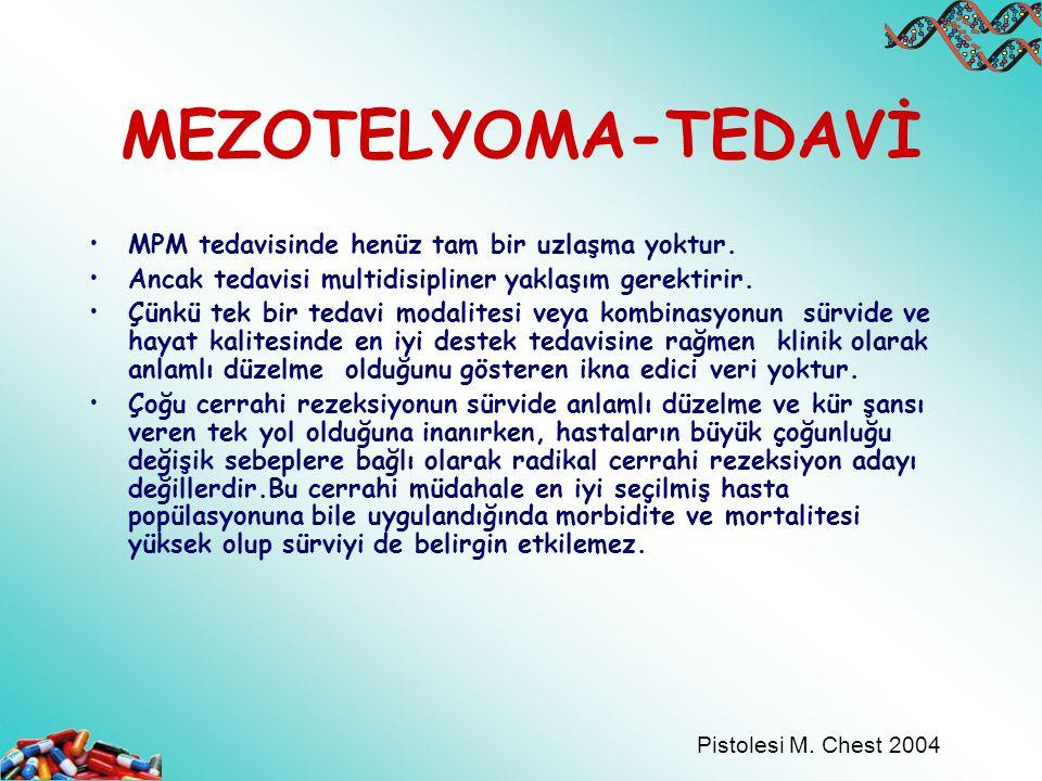 MEZOTELYOMA-TEDAVİ MPM tedavisinde henüz tam bir uzlaşma yoktur.
