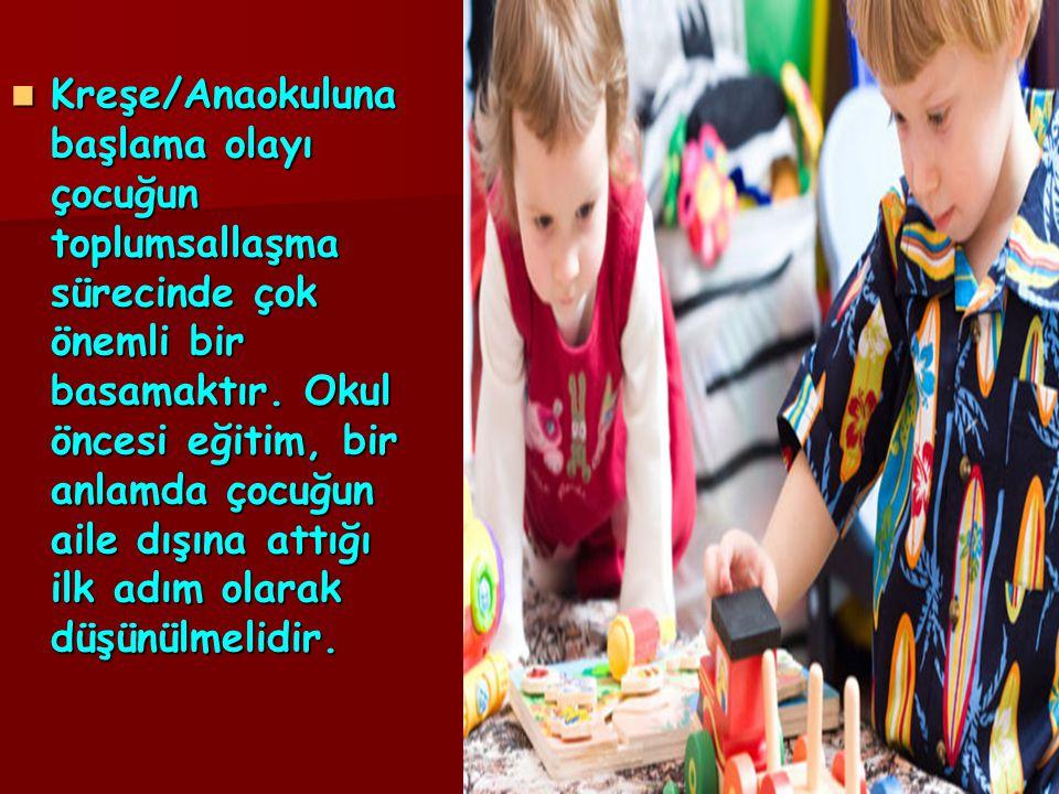 Kreşe/Anaokuluna başlama olayı çocuğun toplumsallaşma sürecinde çok önemli bir basamaktır.