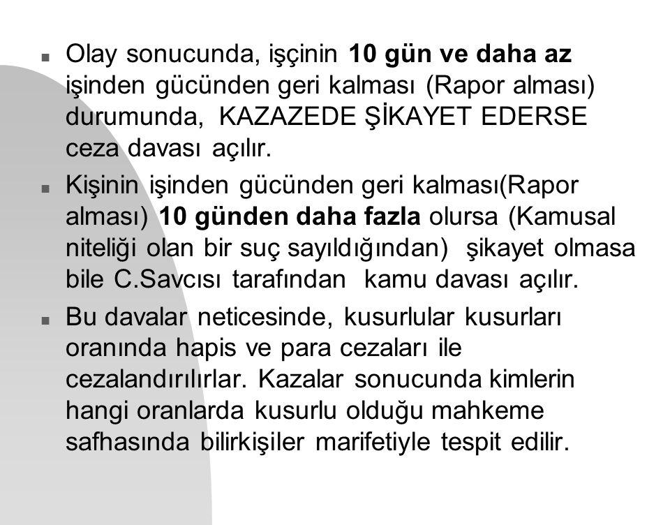 Olay sonucunda, işçinin 10 gün ve daha az işinden gücünden geri kalması (Rapor alması) durumunda, KAZAZEDE ŞİKAYET EDERSE ceza davası açılır.