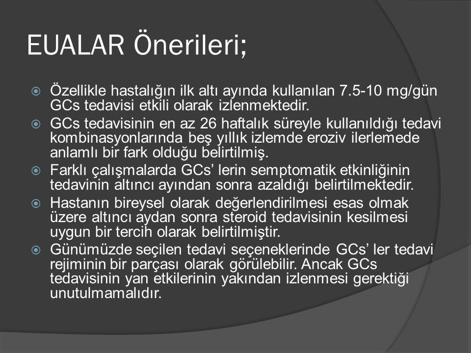 EUALAR Önerileri; Özellikle hastalığın ilk altı ayında kullanılan 7.5-10 mg/gün GCs tedavisi etkili olarak izlenmektedir.