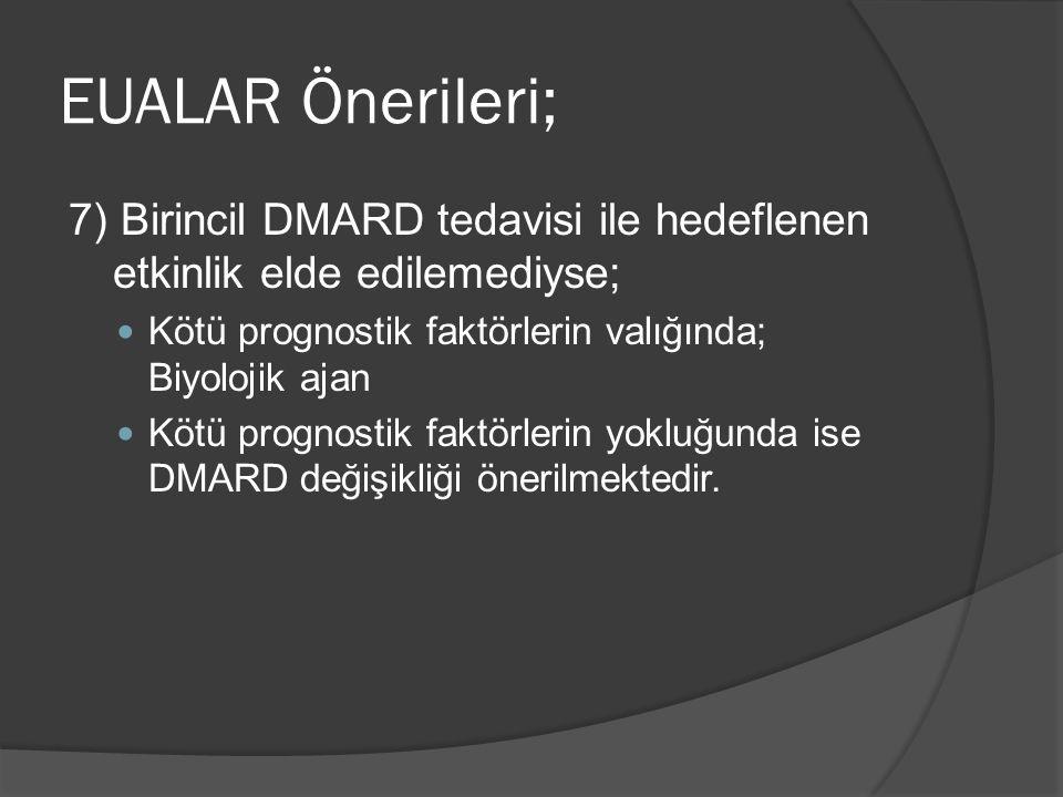 EUALAR Önerileri; 7) Birincil DMARD tedavisi ile hedeflenen etkinlik elde edilemediyse; Kötü prognostik faktörlerin valığında; Biyolojik ajan.