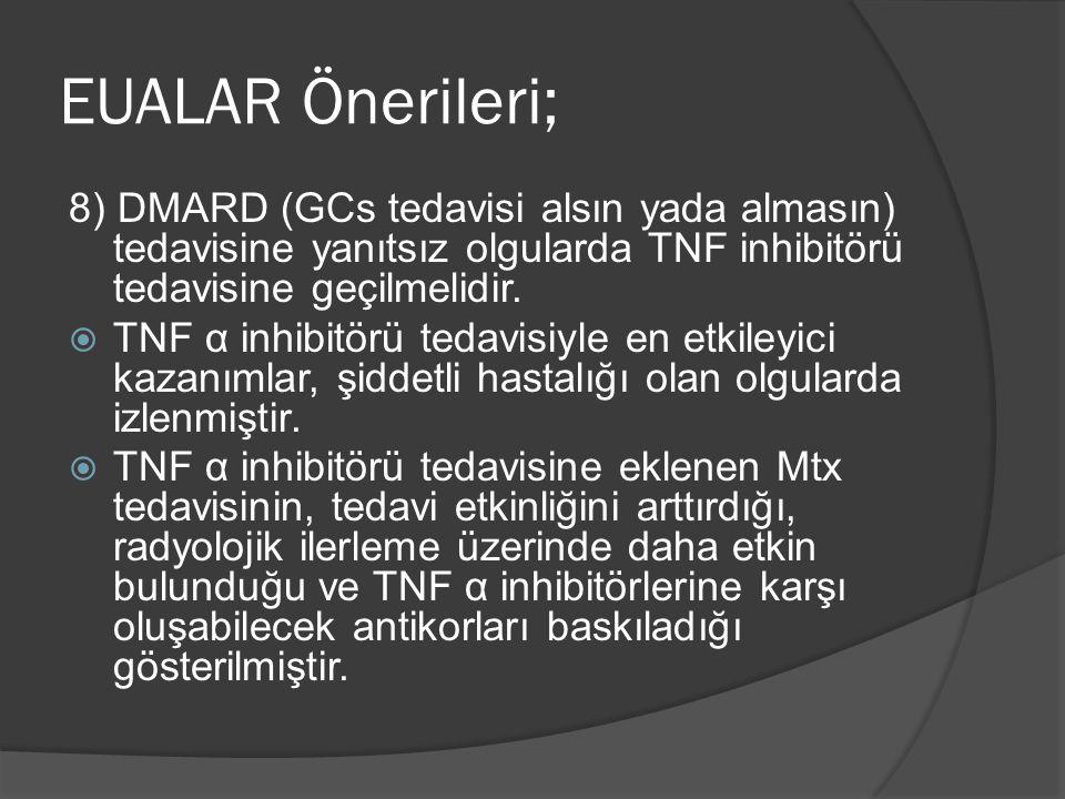 EUALAR Önerileri; 8) DMARD (GCs tedavisi alsın yada almasın) tedavisine yanıtsız olgularda TNF inhibitörü tedavisine geçilmelidir.