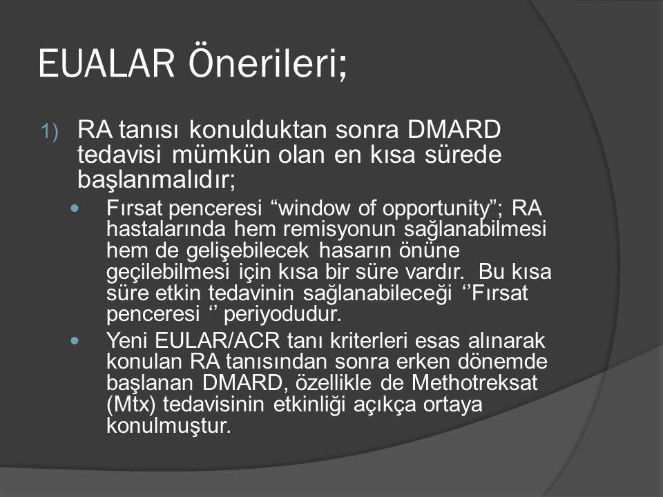 EUALAR Önerileri; RA tanısı konulduktan sonra DMARD tedavisi mümkün olan en kısa sürede başlanmalıdır;