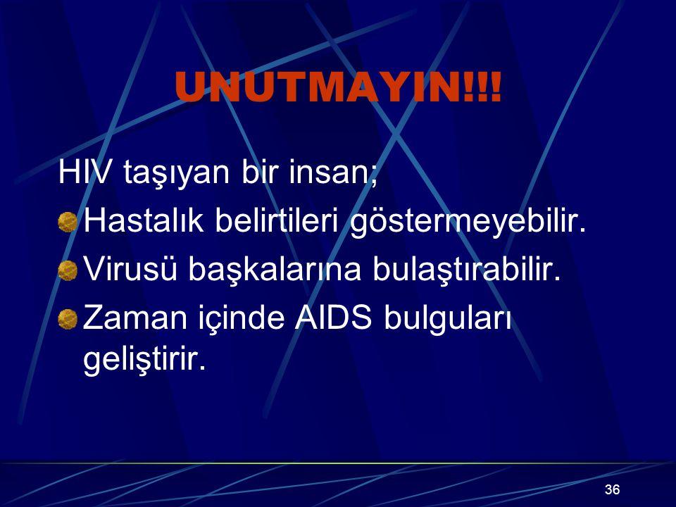 UNUTMAYIN!!! HIV taşıyan bir insan;