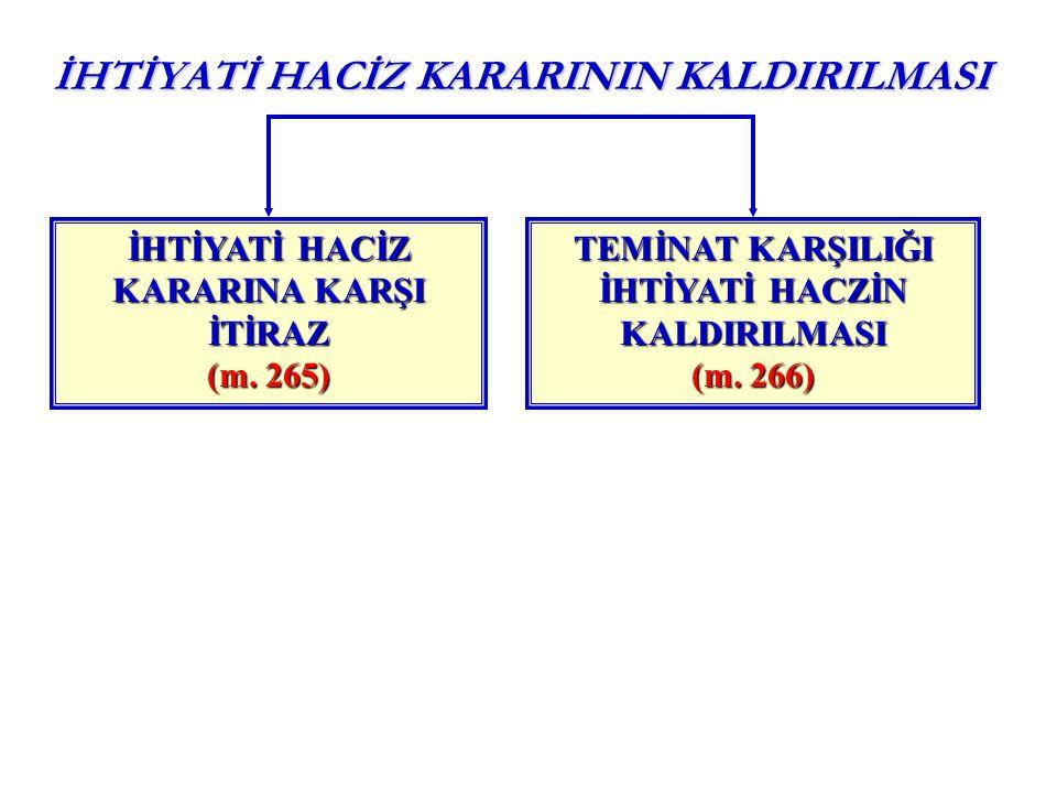 İHTİYATİ HACİZ KARARININ KALDIRILMASI