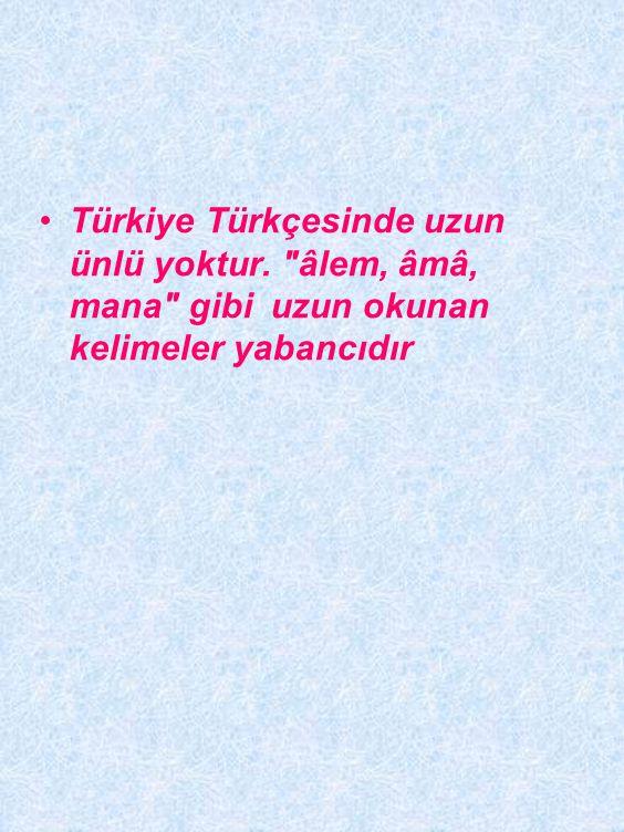 Türkiye Türkçesinde uzun ünlü yoktur