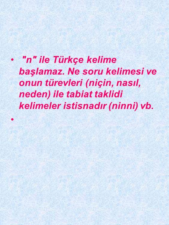 n ile Türkçe kelime başlamaz