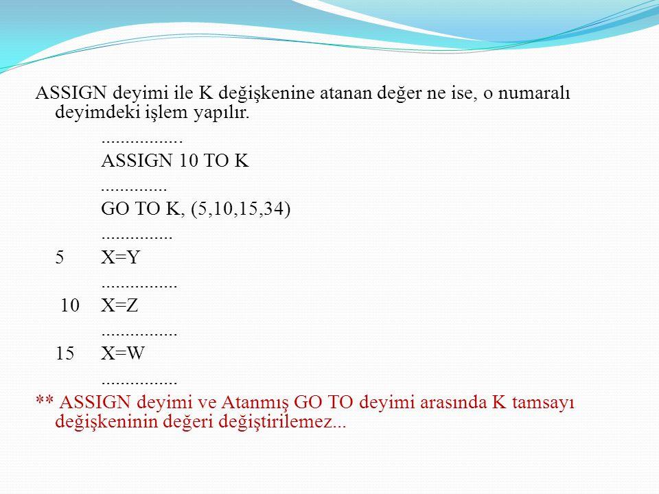 ASSIGN deyimi ile K değişkenine atanan değer ne ise, o numaralı deyimdeki işlem yapılır.