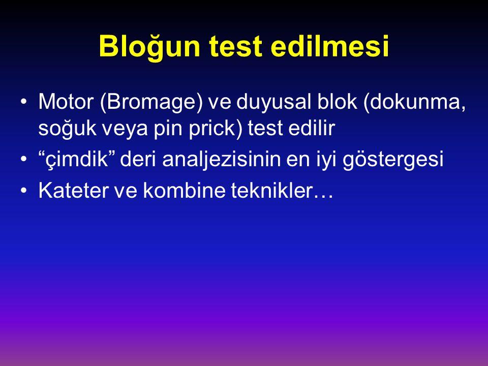 Bloğun test edilmesi Motor (Bromage) ve duyusal blok (dokunma, soğuk veya pin prick) test edilir. çimdik deri analjezisinin en iyi göstergesi.