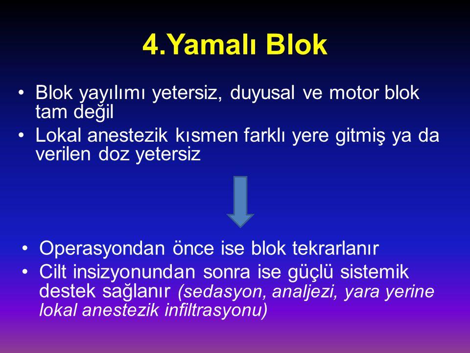 4.Yamalı Blok Blok yayılımı yetersiz, duyusal ve motor blok tam değil