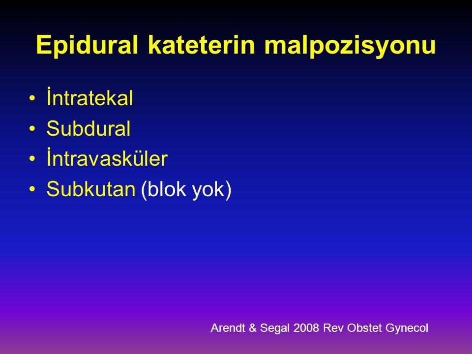 Epidural kateterin malpozisyonu