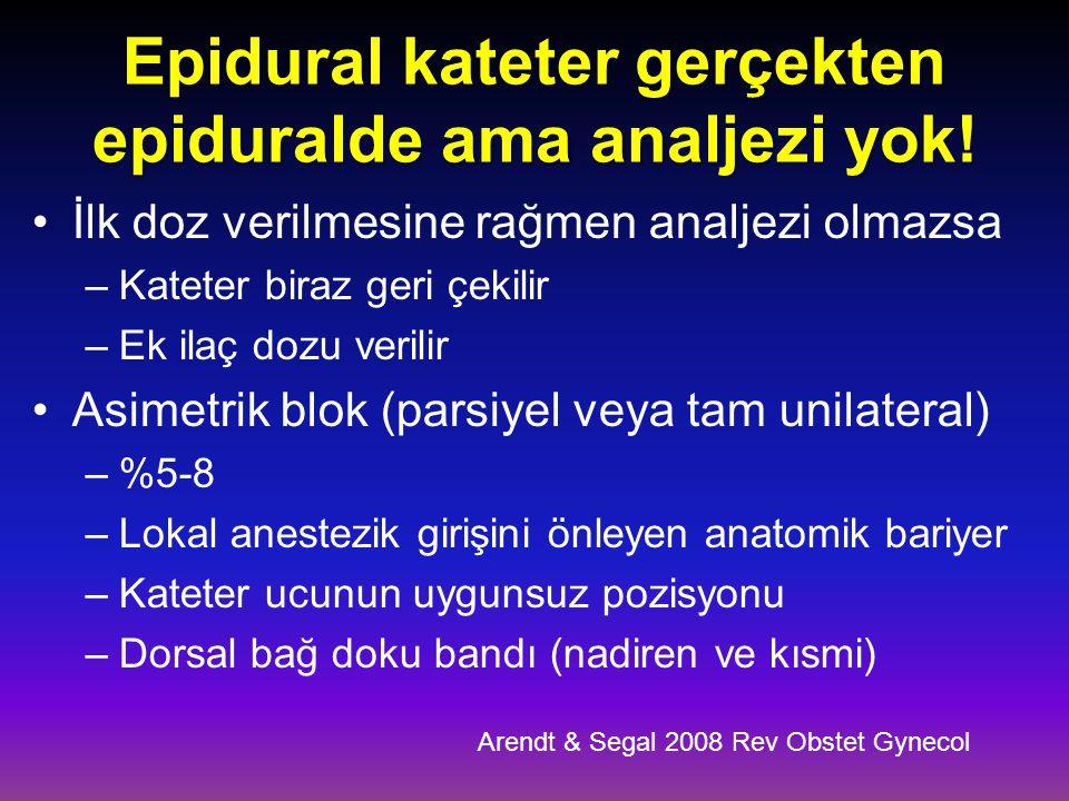 Epidural kateter gerçekten epiduralde ama analjezi yok!