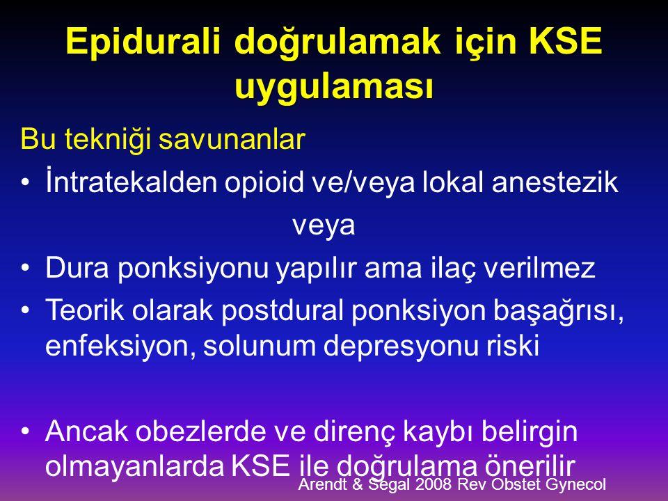 Epidurali doğrulamak için KSE uygulaması