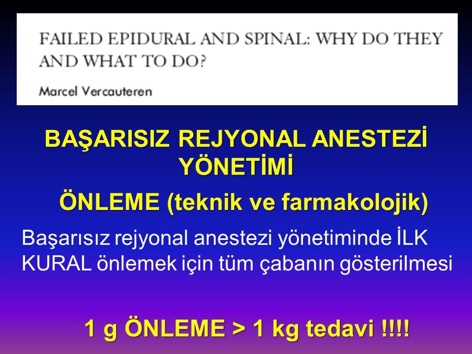 BAŞARISIZ REJYONAL ANESTEZİ YÖNETİMİ ÖNLEME (teknik ve farmakolojik)