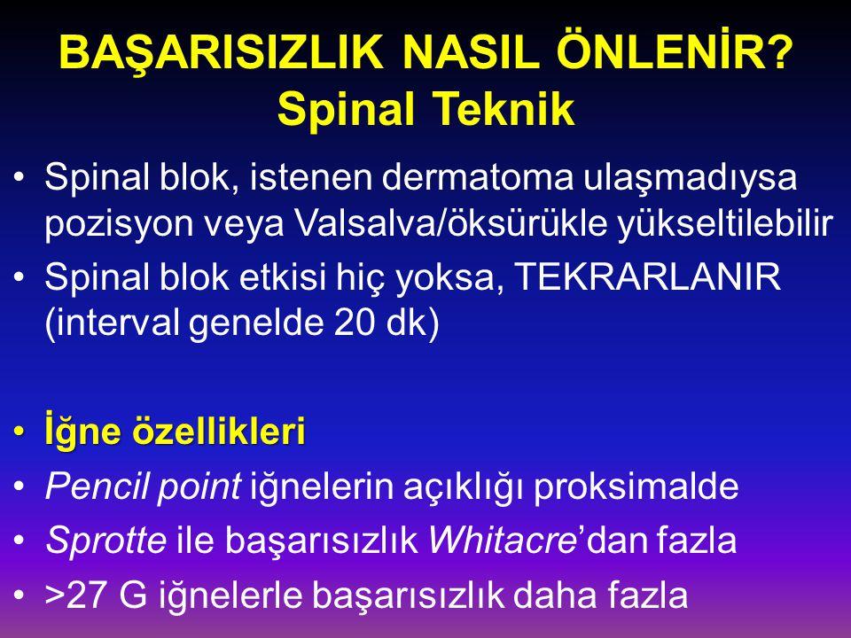 BAŞARISIZLIK NASIL ÖNLENİR Spinal Teknik
